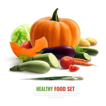 Composição realista de legumes