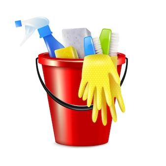 Composição realista de limpeza de balde com ilustração de balde de plástico isolado com material de limpeza e agentes de desinfecção Vetor Premium