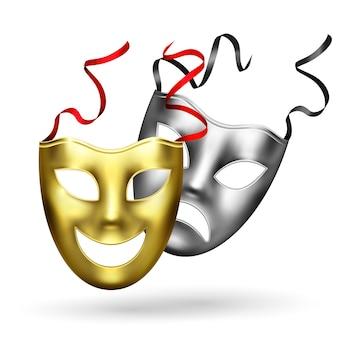 Composição realista de máscaras douradas