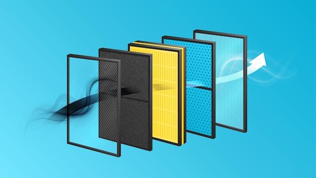 Composição realista de materiais em camadas com vista de camadas, linha com quadros sólidos