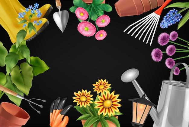 Composição realista de moldura de jardim com ilustração de ferramentas de jardinagem e vasos de flores