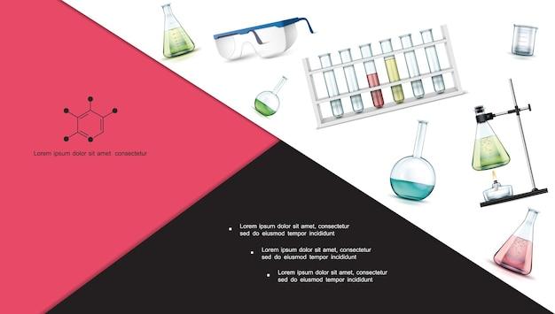 Composição realista de objetos de pesquisa de laboratório com tubos de ensaio, frascos, óculos de proteção, béquer, queimador de álcool