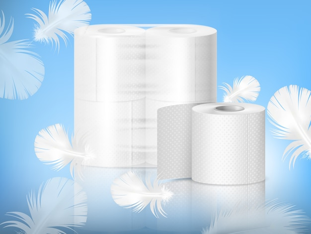 Composição realista de papel higiênico
