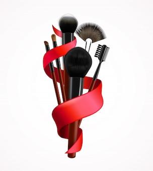 Composição realista de pincéis de maquiagem