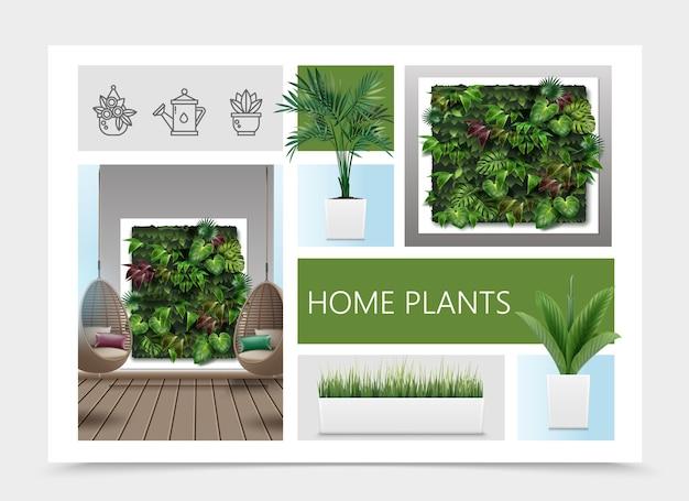 Composição realista de plantas caseiras