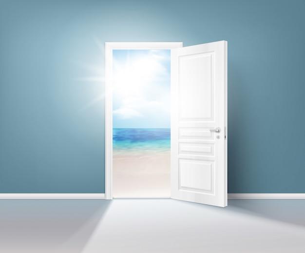 Composição realista de portas natureza