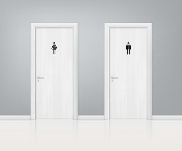Composição realista de portas wc