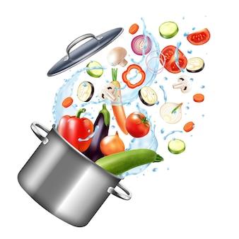 Composição realista de pote de respingos de água e fogão com legumes e gotas