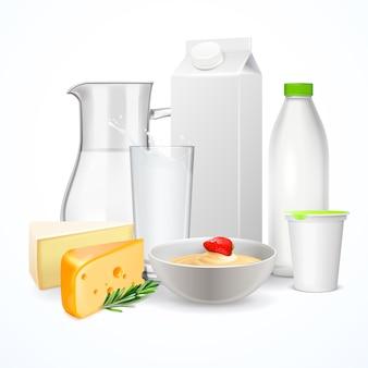 Composição realista de produtos lácteos