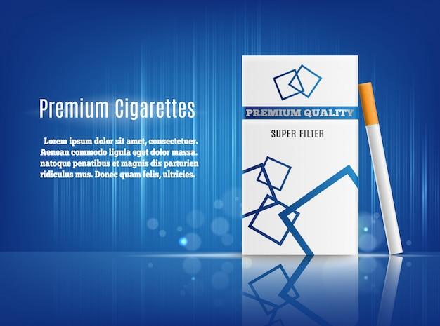Composição realista de propaganda de cigarros