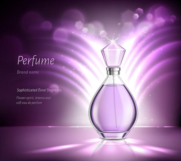Composição realista de publicidade de produtos de perfume