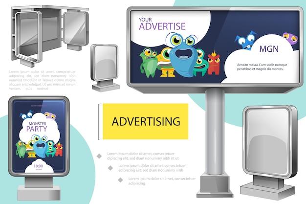 Composição realista de publicidade externa