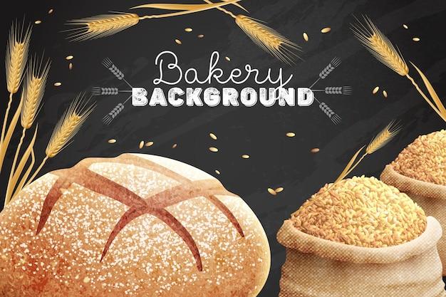Composição realista de quadro-negro de pão de texto editável ornamentado com imagens de sacos de grãos e trigo