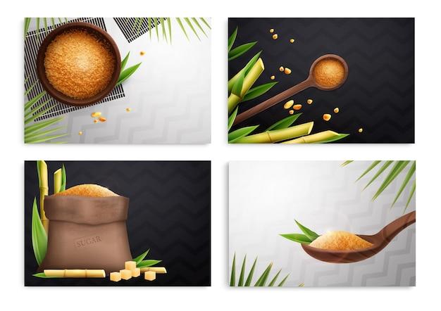 Composição realista de quatro cana de açúcar definida com saco de tigela de colheres de açúcar