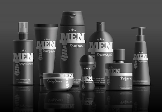 Composição realista de série de cosméticos para homens