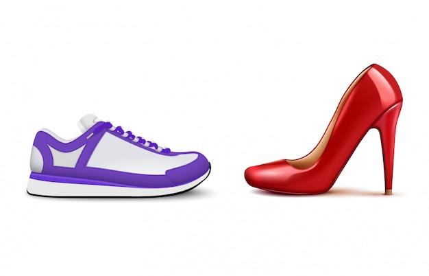 Composição realista de tênis vs salto alto, mostrando a crescente popularidade de calçados casuais confortáveis de mulher