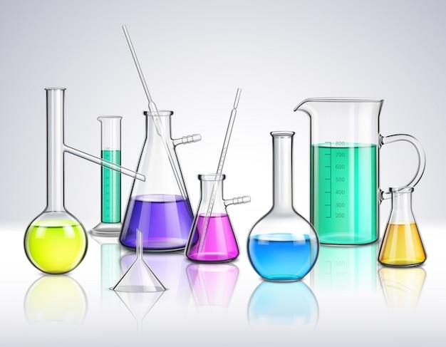 Composição realista de vidraria de laboratório