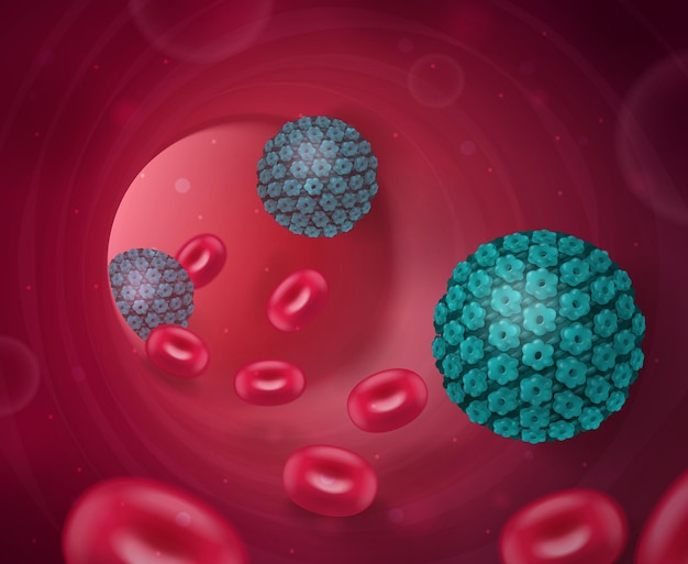 Composição realista de vírus com visualização do tubo interno da veia humana com células sanguíneas e bactérias nocivas
