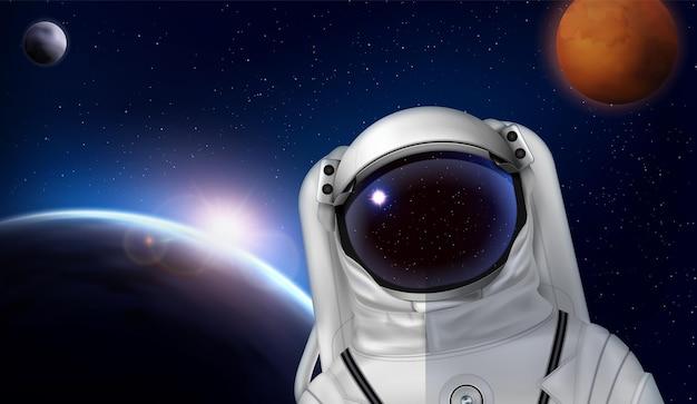 Composição realista do capacete espacial do astronauta com o personagem do cosmonauta em traje espacial na frente da ilustração das imagens dos planetas
