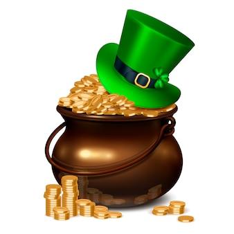 Composição realista do dia de patricks, incluindo o pote cheio de moedas de ouro cobertas com chapéu de esmeralda, decorado com ilustração de trevo e fivela