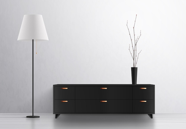 Composição realista do interior da lâmpada de iluminação da casa com móveis de design e vaso com lâmpada de pé e armário