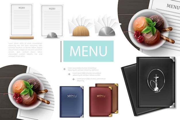 Composição realista do menu do café com tampas do menu, cartas, pratos, colheres de sorvete, guardanapos com suportes de madeira e metal