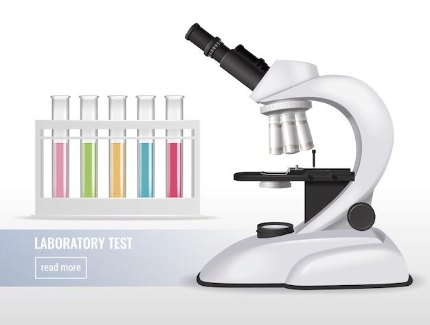 Composição realista do microscópio com tubos de ensaio de laboratório líquidos coloridos e texto editável com o botão leia mais