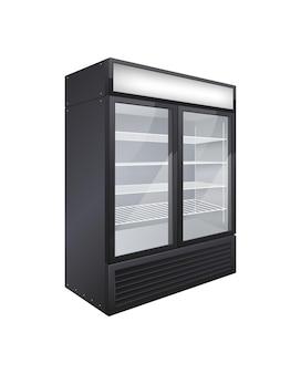 Composição realista do refrigerador de bebidas com porta de vidro comercial com imagem isolada de refrigerador de loja de porta dupla