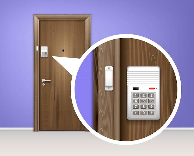 Composição realista do sistema de alarme de porta