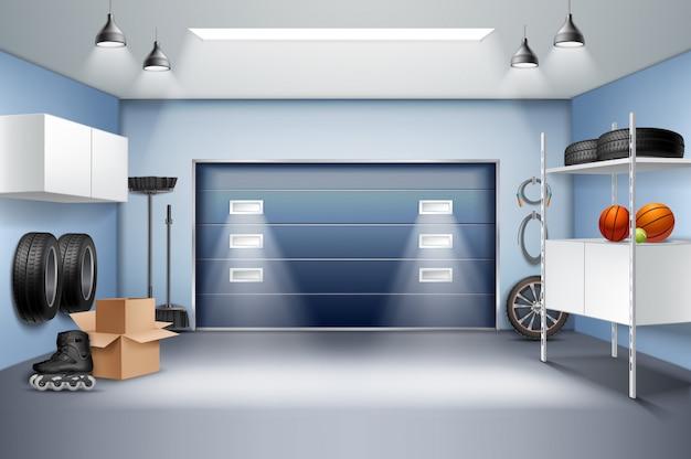 Composição realista interior da garagem espaçosa moderna com armários de armazenamento racks pneus patins ilustração vetorial de porta deslizante