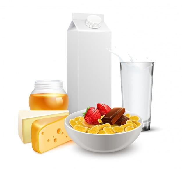 Composição realista leite café da manhã cereais