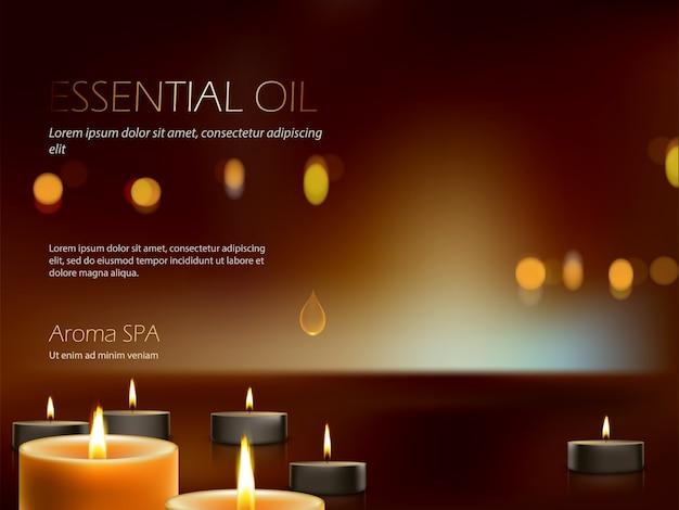 Composição realista para terapia de aromaterapia, relaxamento, meditação de velas acesas.