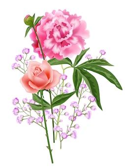 Composição realística da flor da rosa e da peônia.