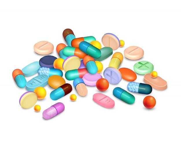 Composição realística médica dos comprimidos