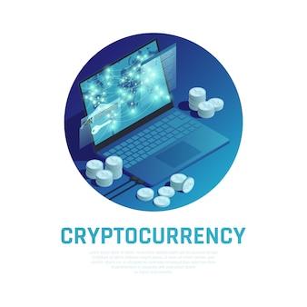 Composição redonda azul de criptomoeda com pilhas de bitcoin e tecnologia blockchain na tela do laptop