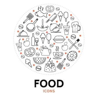 Composição redonda com elementos alimentares