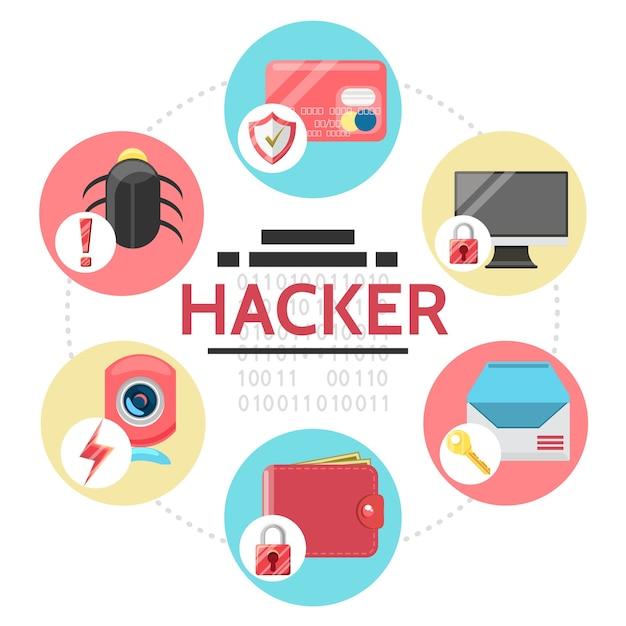 Composição redonda com elementos de atividade do hacker em estilo simples