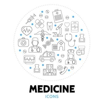 Composição redonda com elementos de cuidados médicos