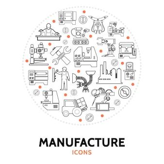 Composição redonda com elementos de manufatura