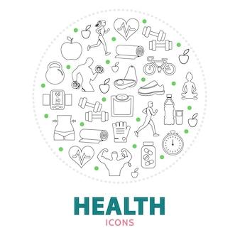 Composição redonda com elementos de saúde