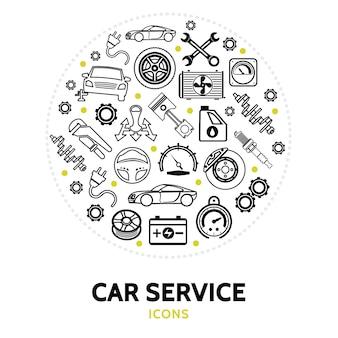 Composição redonda com elementos de serviço do carro