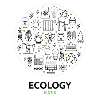 Composição redonda com elementos ecológicos