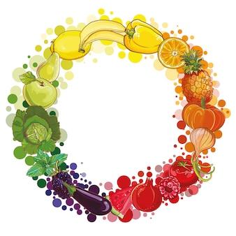 Composição redonda com frutas e vegetais. ícone de vegetais de cor. ilustração de estilo de vida saudável para impressão, web. círculo de comida.