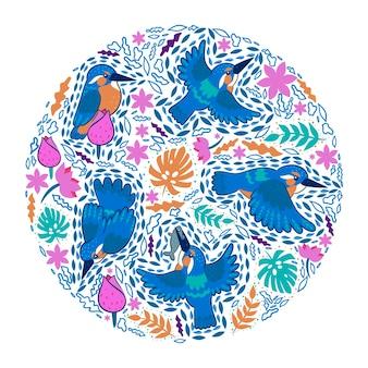 Composição redonda com martim-pescador e folhas tropicais