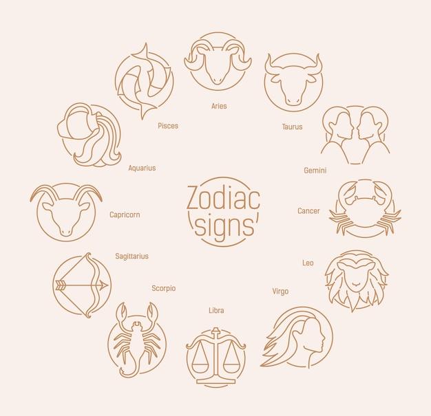 Composição redonda com signos astrológicos