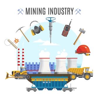 Composição redonda da indústria de mineração
