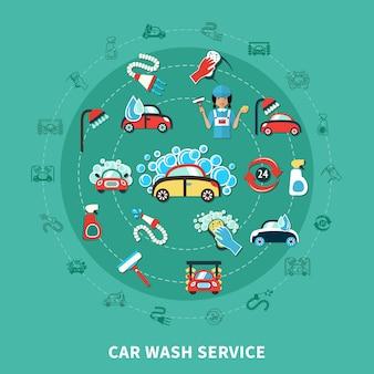 Composição redonda da lavagem de carros