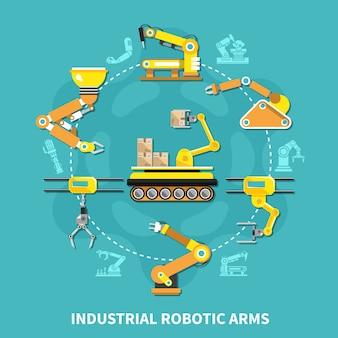 Composição redonda de braço robótico com braço de ferro amarelo disposto em círculo e em estilo plano