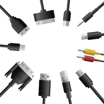 Composição redonda de cabos multimídia