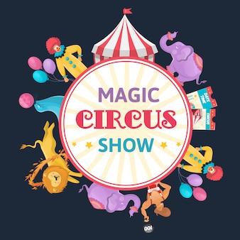 Composição redonda de circo mágico